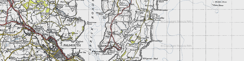 Old map of Percuil in 1946