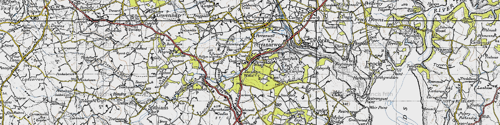 Old map of Perran Wharf in 1946