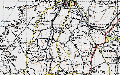 Old map of Perrancoombe in 1946