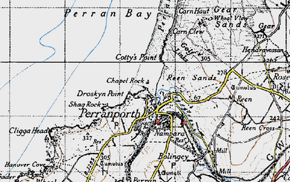 Old map of Perranporth in 1946