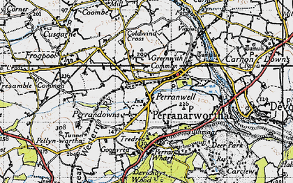 Old map of Perranwell in 1946