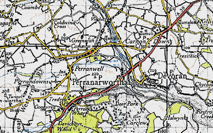 Old map of Perranwell Station in 1946