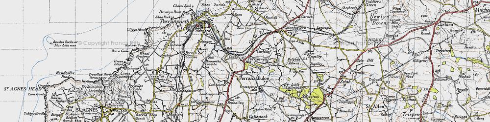 Old map of Perranzabuloe in 1946
