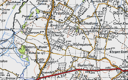 Old map of Wyborne's Charity in 1947