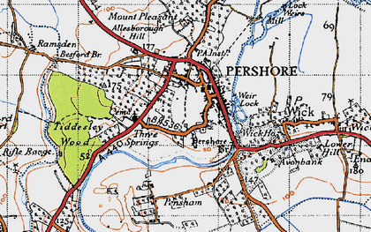 Old map of Pershore in 1946
