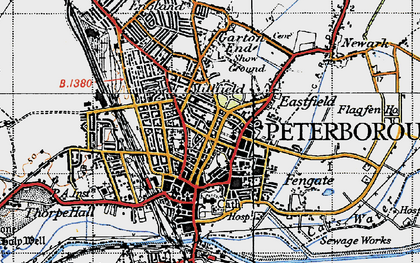 Old map of Peterborough in 1946