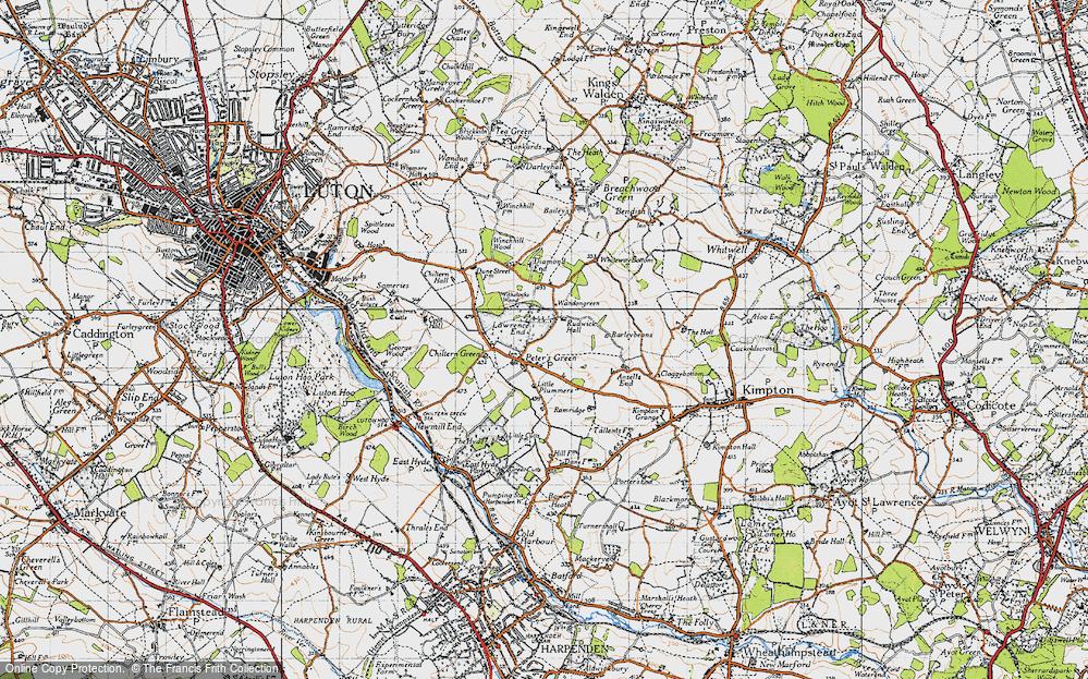 Old Map of Historic Map covering Whiteway Bottom in 1946