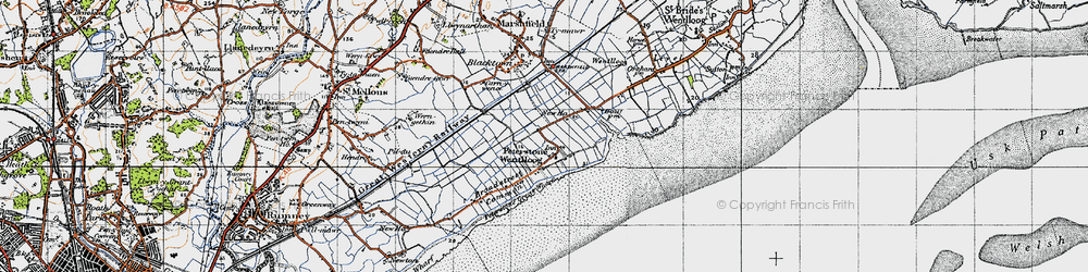 Old map of Peterstone Wentlooge in 1947
