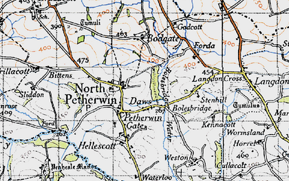 Old map of Petherwin Gate in 1946