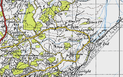 Old map of Pett in 1940