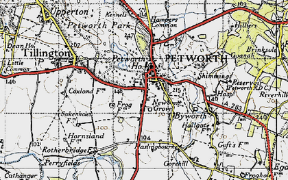 Old map of Petworth in 1940