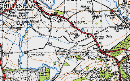 Old map of Wiltshire College (Lackham) in 1940