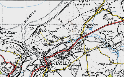 Old map of Phillack in 1946