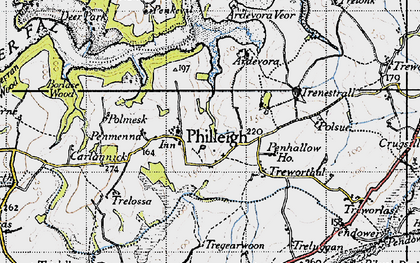 Old map of Ardevora Veor in 1946