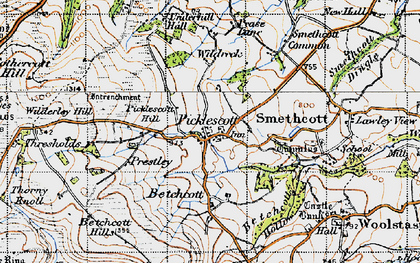 Old map of Wilderley Hill in 1947