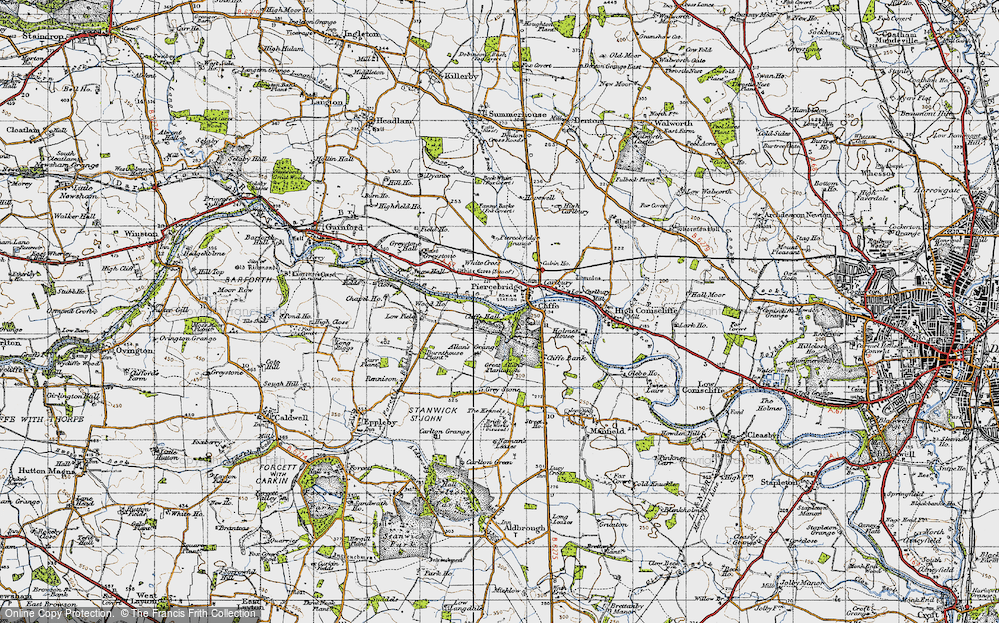 Old Map of Historic Map covering Allan's Grange in 1947