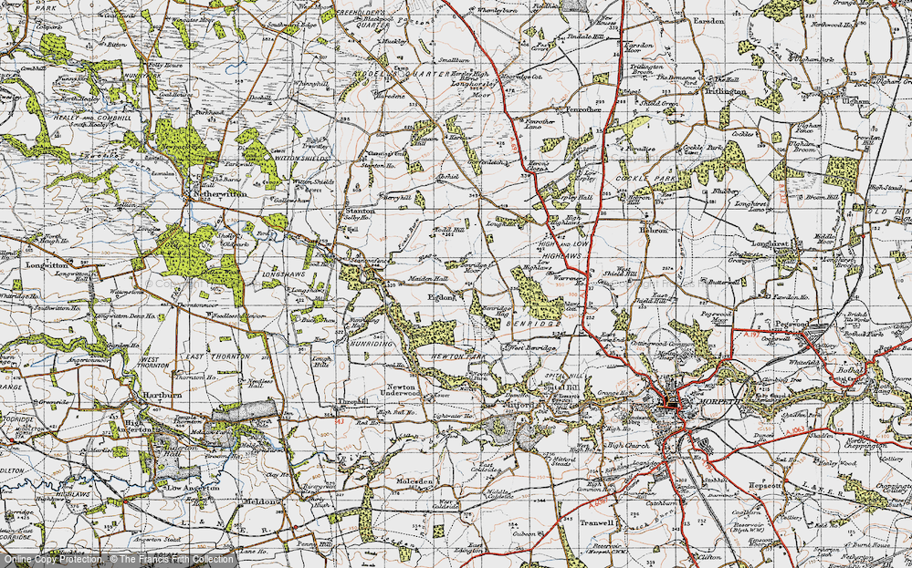 Old Map of Historic Map covering Abshields in 1947