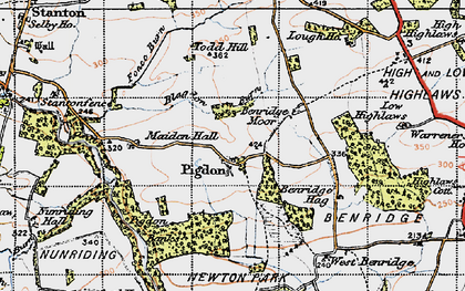 Old map of Todd Hill in 1947