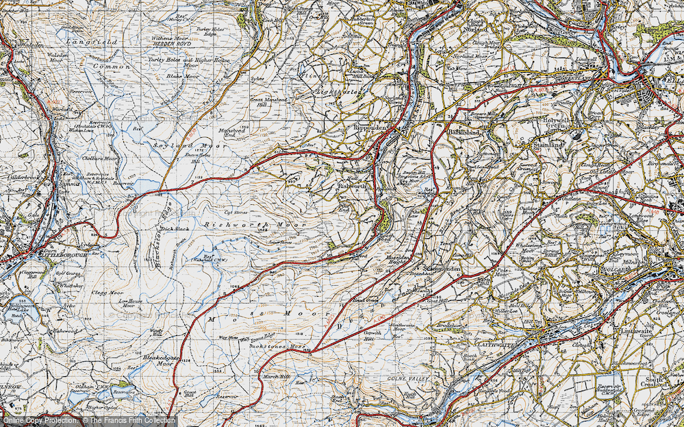 Old Map of Historic Map covering Baitings Resr in 1947