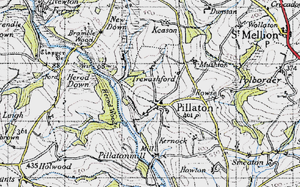 Old map of Pillaton in 1946
