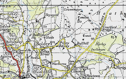 Old map of Pilley in 1945