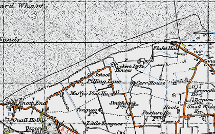 Old map of Wyre-Lune Wildfowl Sanctuary in 1947
