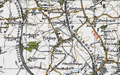 Old map of Pilsley in 1947