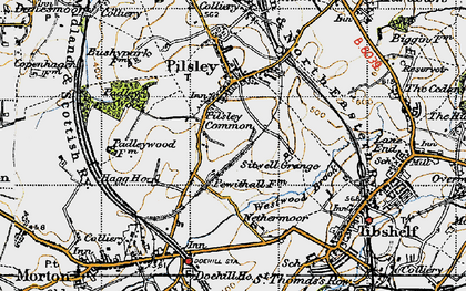 Old map of Pilsley Green in 1947