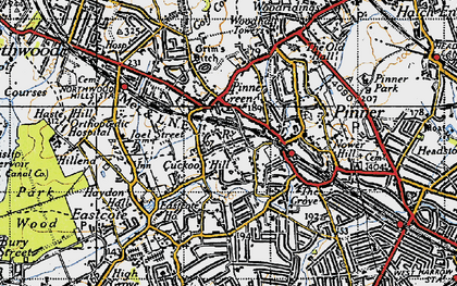 Old map of Pinner in 1945