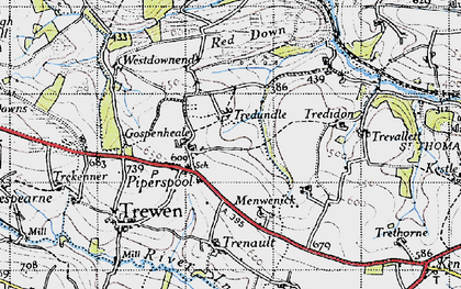 Old map of Westdownend in 1946
