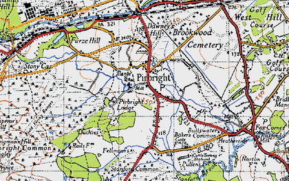 Old map of Pirbright in 1940