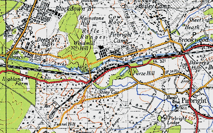 Old map of Pirbright Camp in 1940