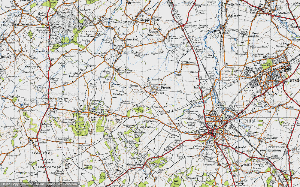 Old Map of Historic Map covering Toot Hill in 1946