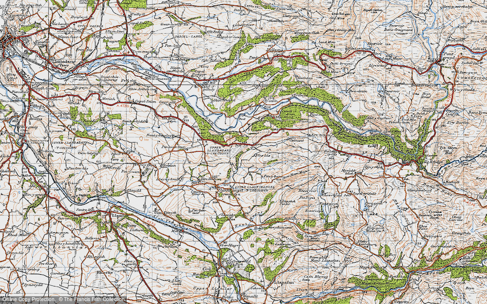 Old Map of Historic Map covering Allt-fedw in 1947
