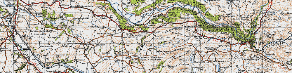 Old map of Allt-fedw in 1947