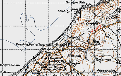 Old map of Pistyll in 1947