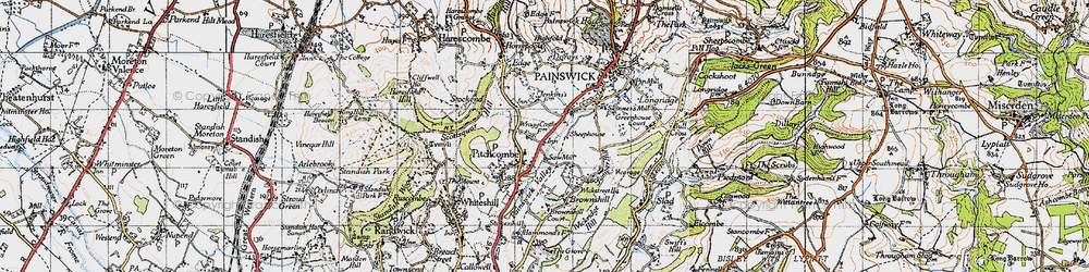 Old map of Pitchcombe in 1946