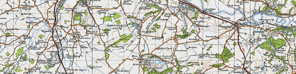 Old map of Pitchford in 1947