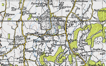 Old map of Pitminster in 1946