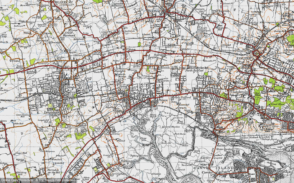 Old Map of Pitsea, 1945 in 1945