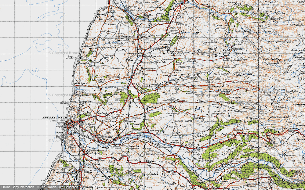 Old Map of Historic Map covering Allt Dderw in 1947