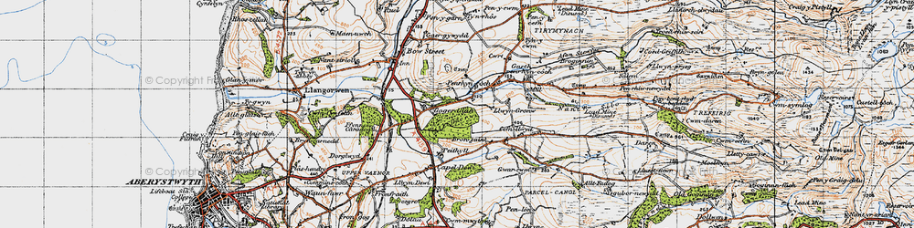 Old map of Allt Dderw in 1947