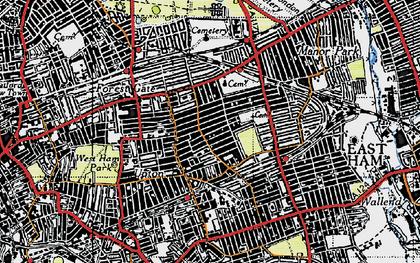 Old map of Plashet in 1946