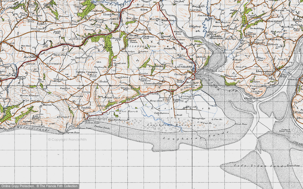 Old Map of Historic Map covering Laugharne Burrows in 1946