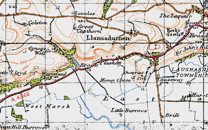 Old map of Laugharne Burrows in 1946