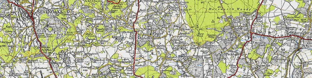 Old map of Plaxtol in 1946