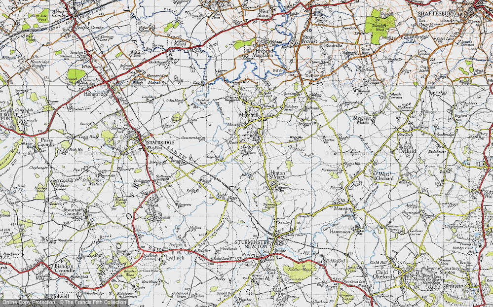 Old Map of Historic Map covering Bagber Br in 1945