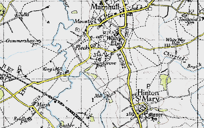 Old map of Bagber Br in 1945