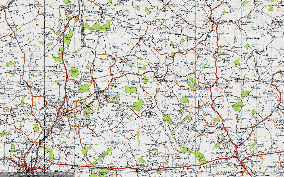 Old Map of Historic Map covering Wood Farmhouse in 1946