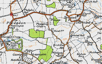 Old map of Wood Farmhouse in 1946